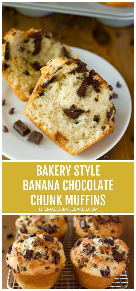 Learn the secret to making these sky-high muffins with these jumbo bakery style banana chocolate chunk muffins. You'll never want to make regular muffins again! #bananachocolatechunkmuffins #jumbobakerymuffins #skyhighmuffins #bananamuffins #bananachocolatechunkmuffins