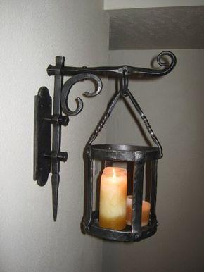 Mano De Herreria Habia Forjado Estilo Gotico Aplique Grande Etsy Blacksmithing Metal Working Candle Sconces