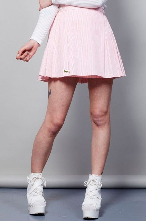 Vintage Pink Stripy Pleated Lacoste Tennis Skirt Vintage Pink Stripy Pleated Lacoste Tennis Skirt In 2020 Tennis Skirt Outfit Tennis Skirt Tennis Clothes
