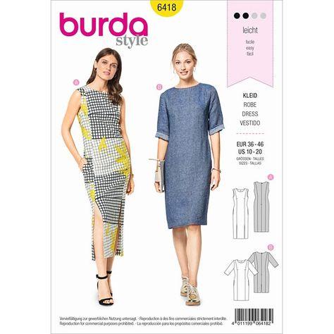 Robe 3 Trous Burda 6418 36 46 Avec Images Mode De Configuration Des Patrons De Vetements Modele Robe