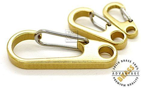 Solid brass 50mm EDC Keychain ring Carabiner Spring Snap Hook Clip