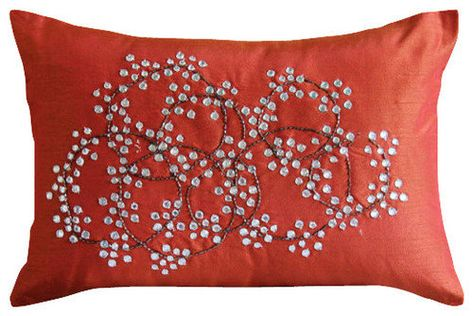 Rectangle throw pillow rusty red gold