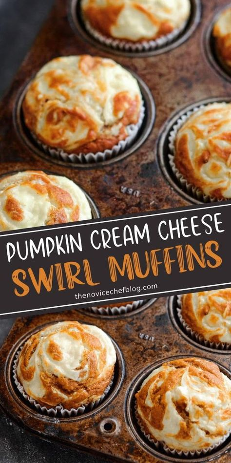 These Pumpkin Cream Cheese Swirl Muffins will come a new fall favorite! Topped with sweet cream cheese that melts into them as they bake, these moist spiced pumpkin muffins are sure to impress your family. Make a double batch for breakfast – they will disappear fast!