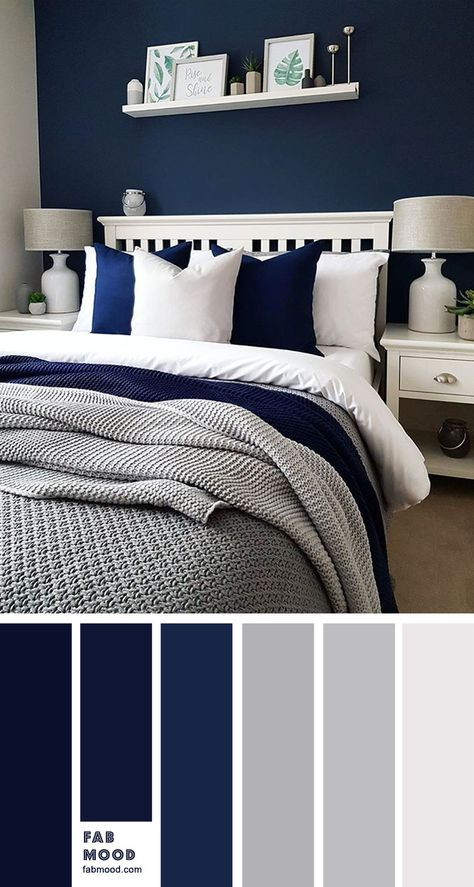 Bedroom color scheme ideas will help you to add harmonious shades to your home w., Bedroom color scheme ideas will help you to add harmonious shades to your home which give variety and feelings of calm. From beautiful wall colors. Grey Bedroom Colors, Navy Blue Bedrooms, Blue Master Bedroom, Blue Bedroom Decor, Bedroom Color Schemes, Blue Rooms, Modern Bedroom, Master Bedroom Color Ideas, Dark Blue Bedroom Walls