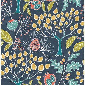 Groovy Garden Navy Peel Stick Wallpaper Nuwallpaper Botanical Wallpaper Wallpaper Roll