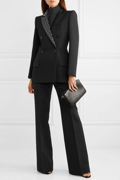 Givenchy - Double-breasted crystal-embellished wool and silk-blend twill blazer Givenchy, Suits For Women, Clothes For Women, Blazer Outfits, Blazer Dress, Lawyer Fashion, Professional Outfits, Work Looks, Business Outfits