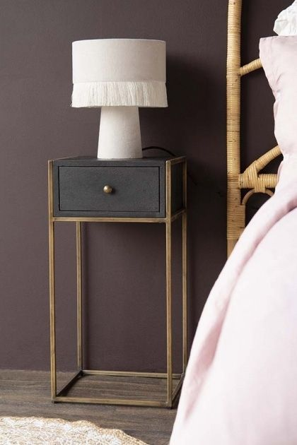 Black Wood Brass Leg Bedside Table Bedside Table Contemporary