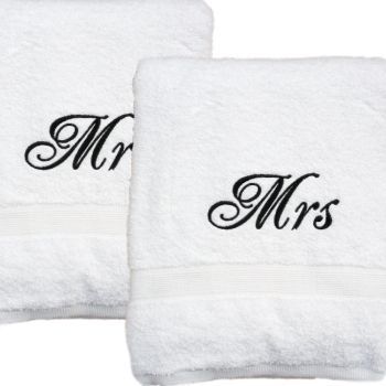 Wedding Gift Towels Set White Bath Towels Personalized Towels