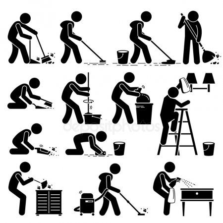 Cleaner Cleaning And Washing House Pictogram Stock Vector