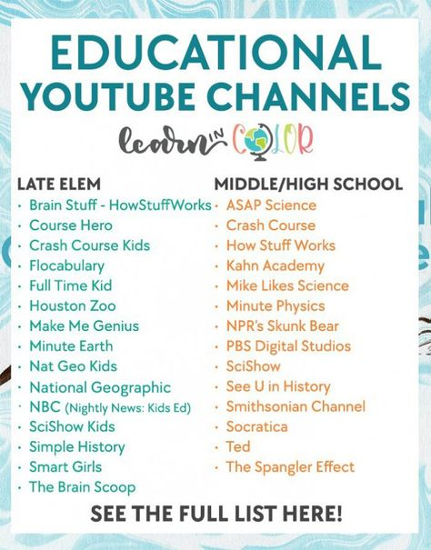 The Best Educational Youtube Channels for Students - Learn in Color