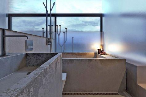 Badezimmer Beton Badewanne-Blick Ozean-Villa Sauna Pinterest - schlichtes sauna design holz seeblick