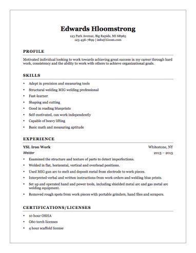 Welder Helper Resume Example Helper Resume Welder