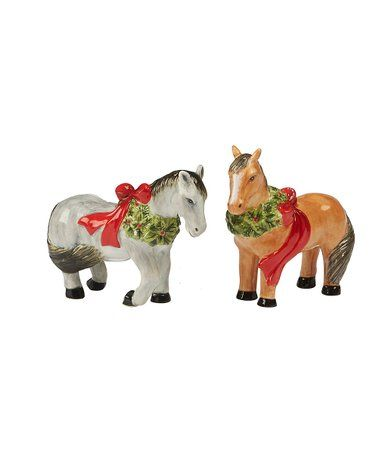 This Christmas Horses Salt Pepper Shakers Is Perfect Zulilyfinds Salt Pepper Shakers Christmas Horses Pepper Shaker