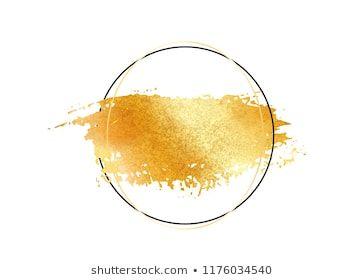 Gold Glitter Foil Brush Stroke Vector Golden Paint Smear With Circle Round Border Frame Isolated On White Gl Golden Painting Brush Stroke Vector Gold Glitter