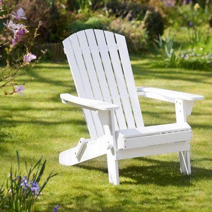 Adirondack Chair In White Wooden Garden Chairs Garden Furniture