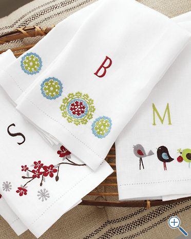 Cute idea for kitchen towels. Maybe not the days of the week, but ...