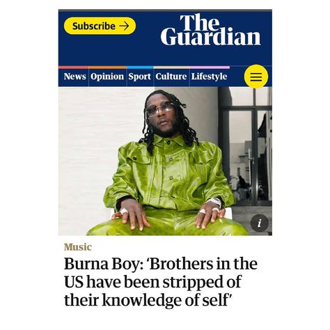 """BukiHQ Media on Instagram: """"'Brothers in the US have been stripped of their knowledge of self' Burna Boy says in an interview with The Guardian. With his new album…"""""""