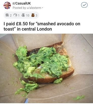 There are few more controversial meals out there than Avocado toast. That is, aside from depressing-looking and wildly overpriced avocado toast. #delicious #expensive #millennials #avocados