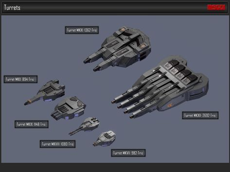 scifi modular spaceship weapons 3d model low-poly obj fbx 1