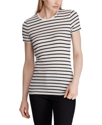 Lauren Ralph Lauren Stripe Print Stretch T Shirt