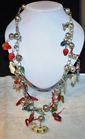 VINTAGE 925 STERLING SILVER MEXICAN WEDDING NECKLACE MILAGROS CHARMS WORRY DOLLS