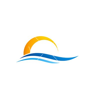 Abstract water beach sunset logo on VectorStock
