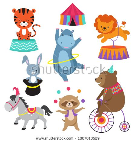 Stock Vector Cartoon Circus Animals For Child Birthday Card Vector Animal In Circus Happy Elephant And L Circus Animals Kids Birthday Cards Animals For Kids