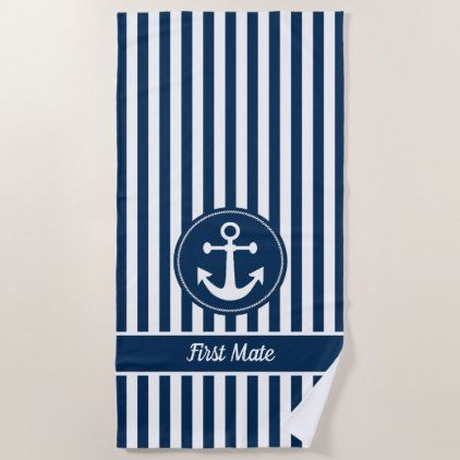 First Mate Nautical Anchor Rope Navy Blue Stripes Beach Towel