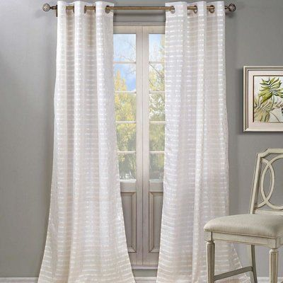 House Of Hampton Cadencia Striped Semi Sheer Grommet Curtain