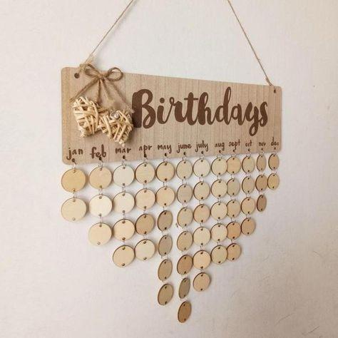 Wooden Calendar Birthday Reminder Board Family Friends Special Dates Planner