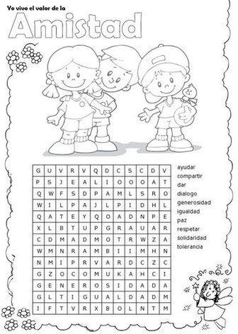 Semana 9 Segundo Uno Actividades De Amistad Actividades De Convivencia Sopa De Letras Para Niños