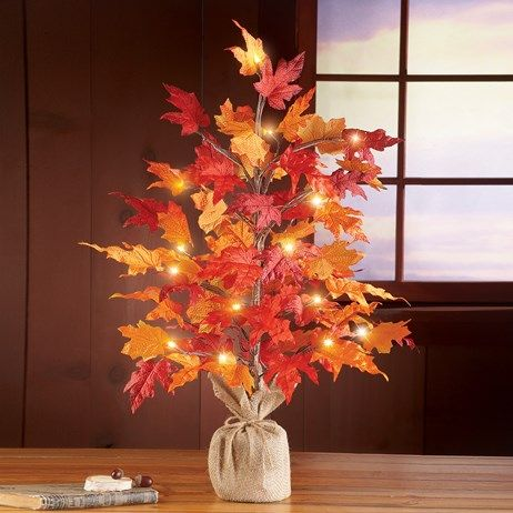 Lighted Harvest Tabletop Tree Collections Etc Fall Thanksgiving Decor Harvest Tabletop Thanksgiving Decorations Diy