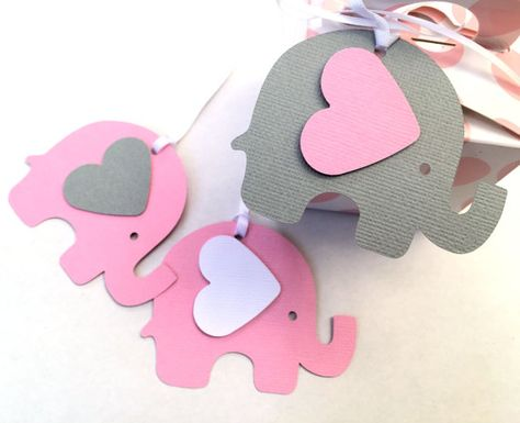 Pink & Gray Elephant Baby Shower gift tags. For by MyPaperPlanet