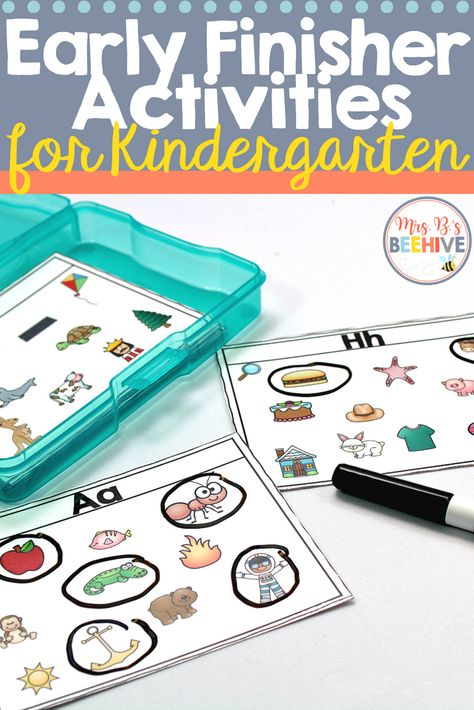 Kindergarten Early Finisher Task Cards - October Give your students early finisher activities that are engaging and educational. These task cards are meant to be done independently to help free up your teacher time for those students who need assistance! Early Finishers Kindergarten, Early Finishers Activities, Kindergarten Centers, Kindergarten Classroom, Literacy Centers, Kindergarten Reading Activities, Classroom Decor, Autism Activities, Sorting Activities