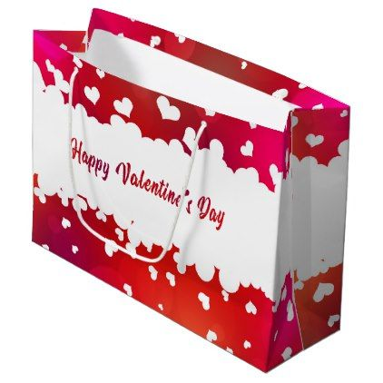 3 x Large VALENTINE GIFT BAGS Cute Love Hearts Glitter Present Valentines Day