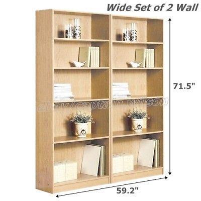 Bookcase Wide 5 Shelf Set Of 2 Pcs Light Brown Natural Adjustable Wood Bookshelf Shelves Wood Floating Shelves Floating Shelves