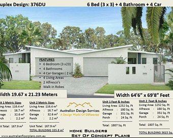 Pavilion Style Home Design 4 Or 5 Bedrooms 2 1 2 Bathrooms Etsy In 2020 Duplex Design Duplex House Plans Duplex Floor Plans