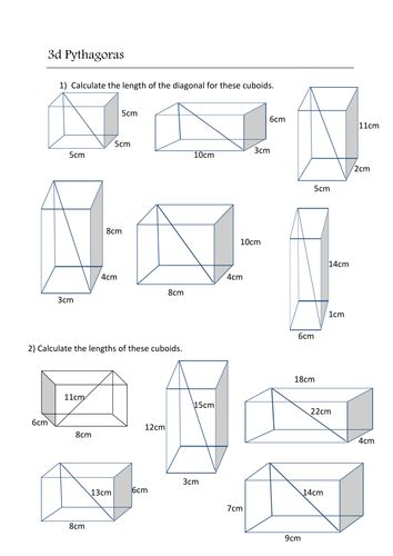 3d Pythagoras Worksheet Pythagorean Theorem Worksheet Pythagorean Theorem Worksheets
