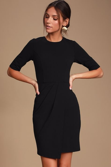 Sass and class come together perfectly with the Lulus Westwood Black Half Sleeve Sheath Dress! Sheath dress with crewneck, half sleeves, and overlapping skirt. Black Dress With Sleeves, Half Sleeve Dresses, Long Sleeve Mini Dress, Half Sleeves, Cocktail Dresses With Sleeves, Retro Outfits, Black Dress Outfits, Dress Black, Little Black Dress Outfit