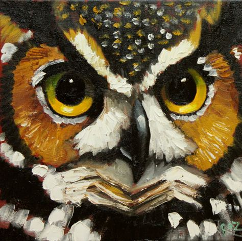 Owl painting 110 inch original oil painting by Roz by RozArt