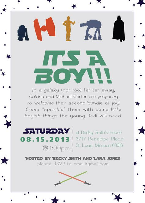 Star Wars Baby Shower Invitation By Preparingforpeanut On