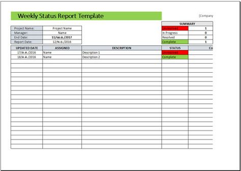 Free Weekly Status Report Template Report Template Pinterest - status report template