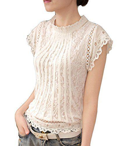 Damen Spitze Patchwork T-Shirt Kurzarm Shirt Oberteile Bluse Top Clubwear XS-XL