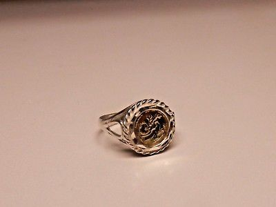 Sterling Silver Coin Ring With 10k Gold Panda Coin Size 8 In 2020 Silver Coin Ring Coin Ring Silver Coins