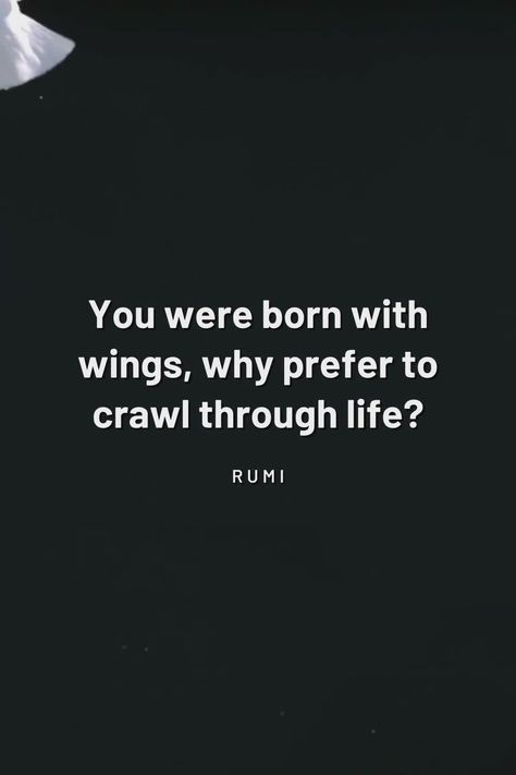 """You were born with wings, why prefer to crawl through life?"" Rumi // life quotes 