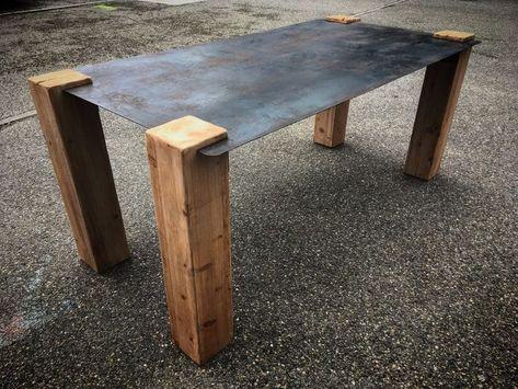 Table Design Industriel Plateau Acier Pieds Bois Creation