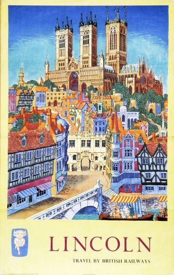 Lincoln British Railway British Vintage Posters Barclay Samson Limited Travel Posters Retro Travel Poster Railway Posters
