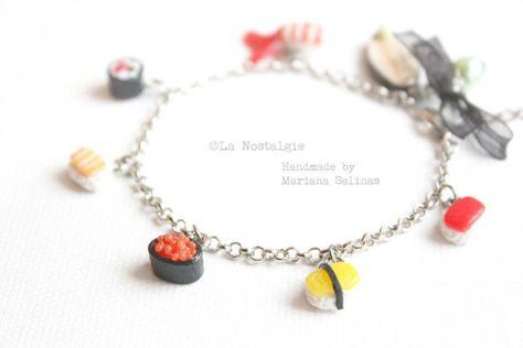 Sushi Jewelry Bracelet - Sushi Set Wasabi - Mini Sushi Charm Bracelet - Rhodium Plated Silver Chain