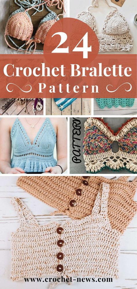 It's getting close to summertime so, it's time to break out your bralette tops! Start your summer off right with these 24 Crochet Bralette Patterns! Crochet Shirt, Cute Crochet, Crochet Crafts, Crochet Projects, Diy Crochet Bralette, Diy Crochet Clothes, Crochet Top Outfit, Summer Knitting Projects, Crochet Outfits