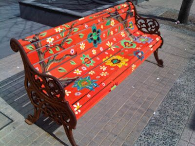 Painted Benches, Hand Painted Outdoor Benches